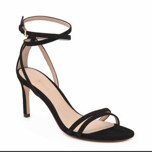 Black Suede Strappy Heeled Sandal.